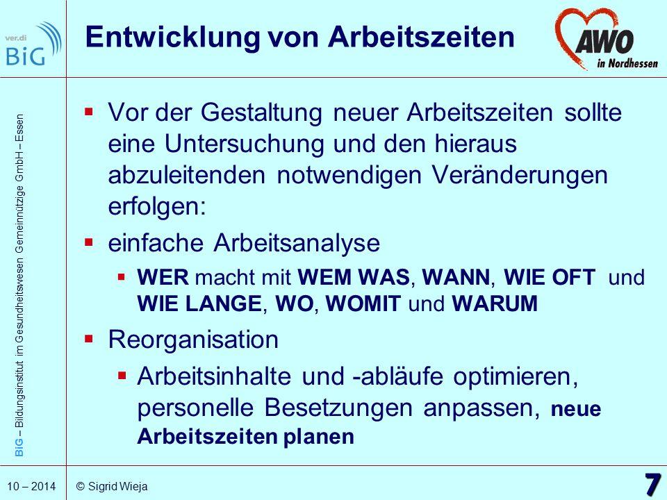 BiG – Bildungsinstitut im Gesundheitswesen Gemeinnützige GmbH – Essen 7 10 – 2014 © Sigrid Wieja Entwicklung von Arbeitszeiten  Vor der Gestaltung ne