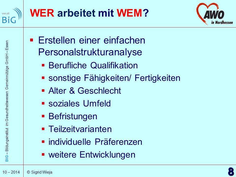 BiG – Bildungsinstitut im Gesundheitswesen Gemeinnützige GmbH – Essen 9 10 – 2014 © Sigrid Wieja Personalbedarf Wie viele Personen mit welcher Qualifikation sind für die Erledigung der Arbeit erforderlich.