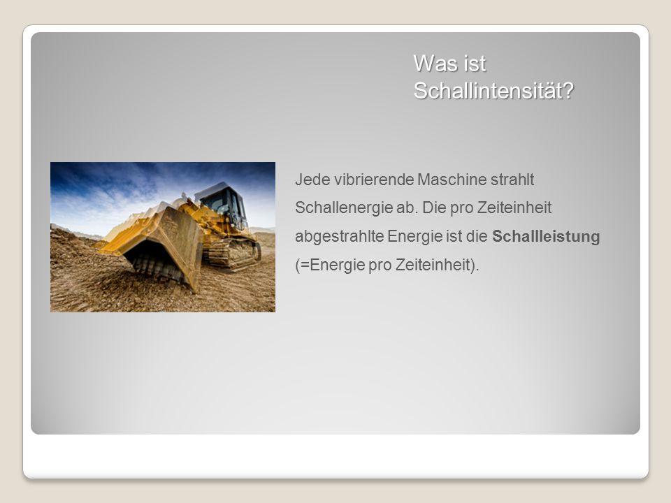 Was ist Schallintensität? Jede vibrierende Maschine strahlt Schallenergie ab. Die pro Zeiteinheit abgestrahlte Energie ist die Schallleistung (=Energi