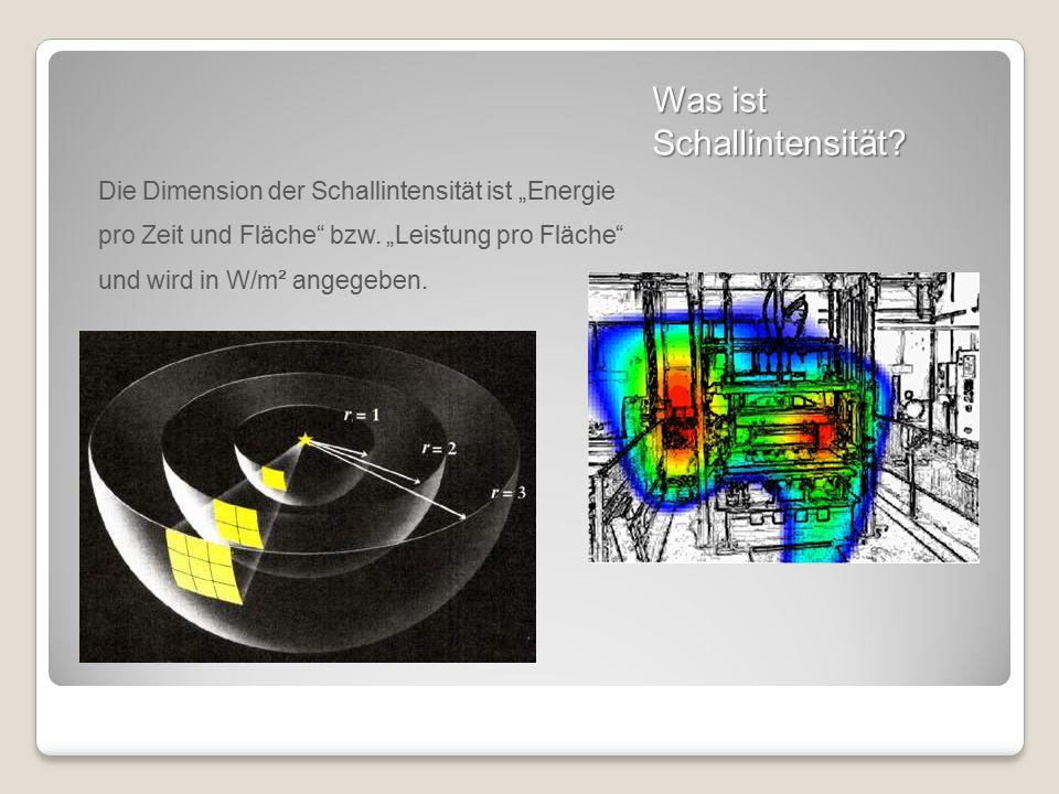 """Was ist Schallintensität? Die Dimension der Schallintensität ist """"Energie pro Zeit und Fläche"""" bzw. """"Leistung pro Fläche"""" und wird in W/m² angegeben."""