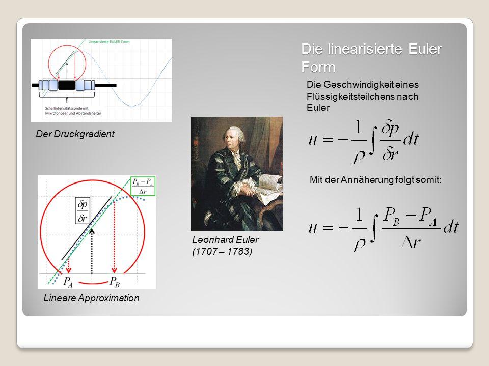 Die linearisierte Euler Form Leonhard Euler (1707 – 1783) Die Geschwindigkeit eines Flüssigkeitsteilchens nach Euler Der Druckgradient Lineare Approximation Mit der Annäherung folgt somit: