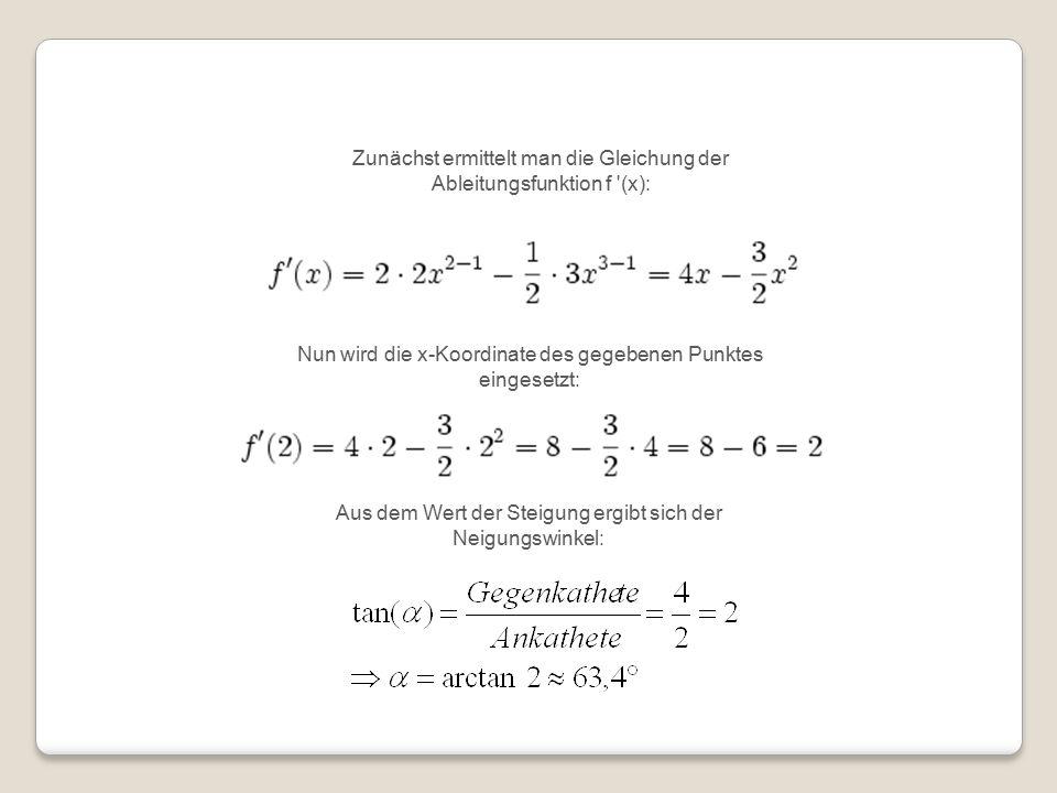 Zunächst ermittelt man die Gleichung der Ableitungsfunktion f (x): Nun wird die x-Koordinate des gegebenen Punktes eingesetzt: Aus dem Wert der Steigung ergibt sich der Neigungswinkel: