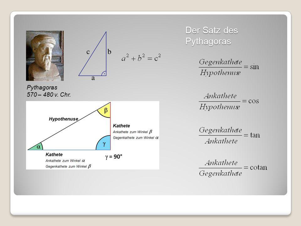 Der Satz des Pythagoras Pythagoras 570 – 480 v. Chr.