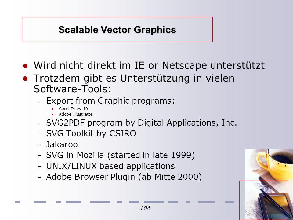 106 Scalable Vector Graphics Wird nicht direkt im IE or Netscape unterstützt Trotzdem gibt es Unterstützung in vielen Software-Tools: – Export from Graphic programs: Corel Draw 10 Adobe Illustrator – SVG2PDF program by Digital Applications, Inc.
