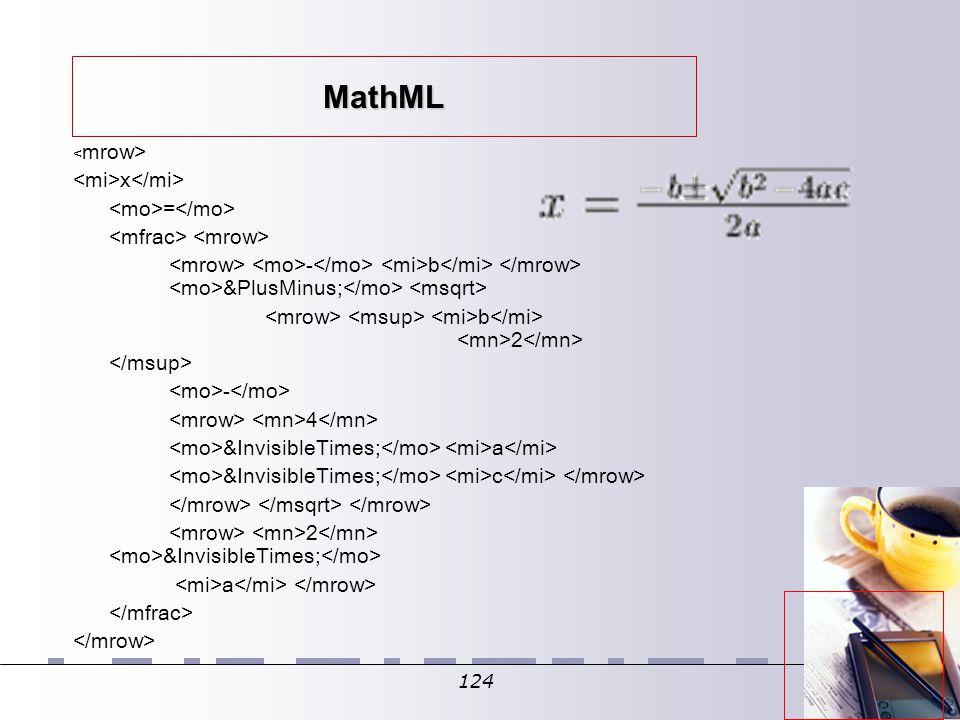 124 MathML x = - b ± b 2 - 4  a  c 2  a