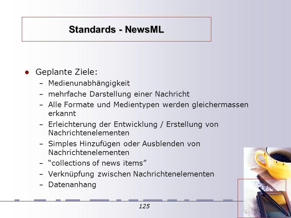 125 Standards - NewsML Geplante Ziele: – Medienunabhängigkeit – mehrfache Darstellung einer Nachricht – Alle Formate und Medientypen werden gleicherma