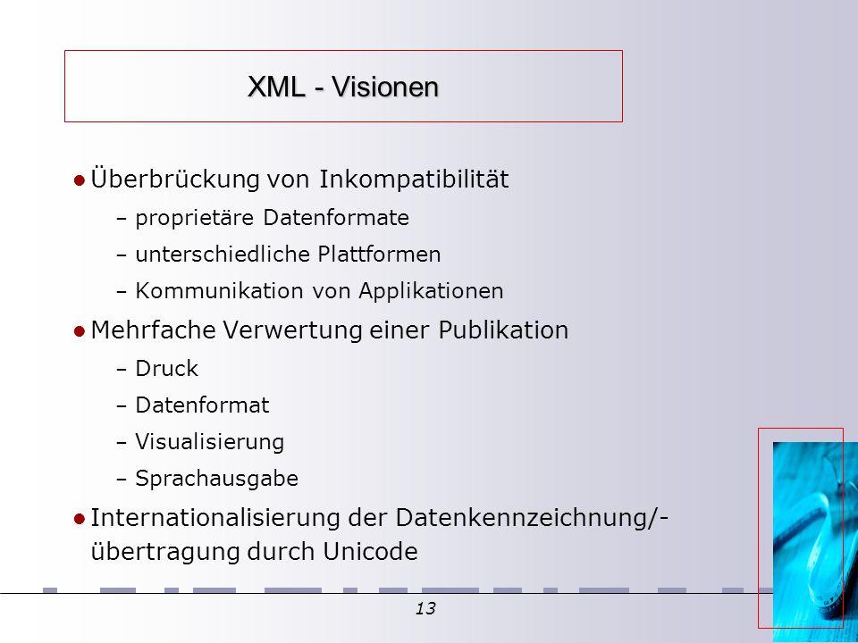 13 XML - Visionen Überbrückung von Inkompatibilität – proprietäre Datenformate – unterschiedliche Plattformen – Kommunikation von Applikationen Mehrfache Verwertung einer Publikation – Druck – Datenformat – Visualisierung – Sprachausgabe Internationalisierung der Datenkennzeichnung/- übertragung durch Unicode