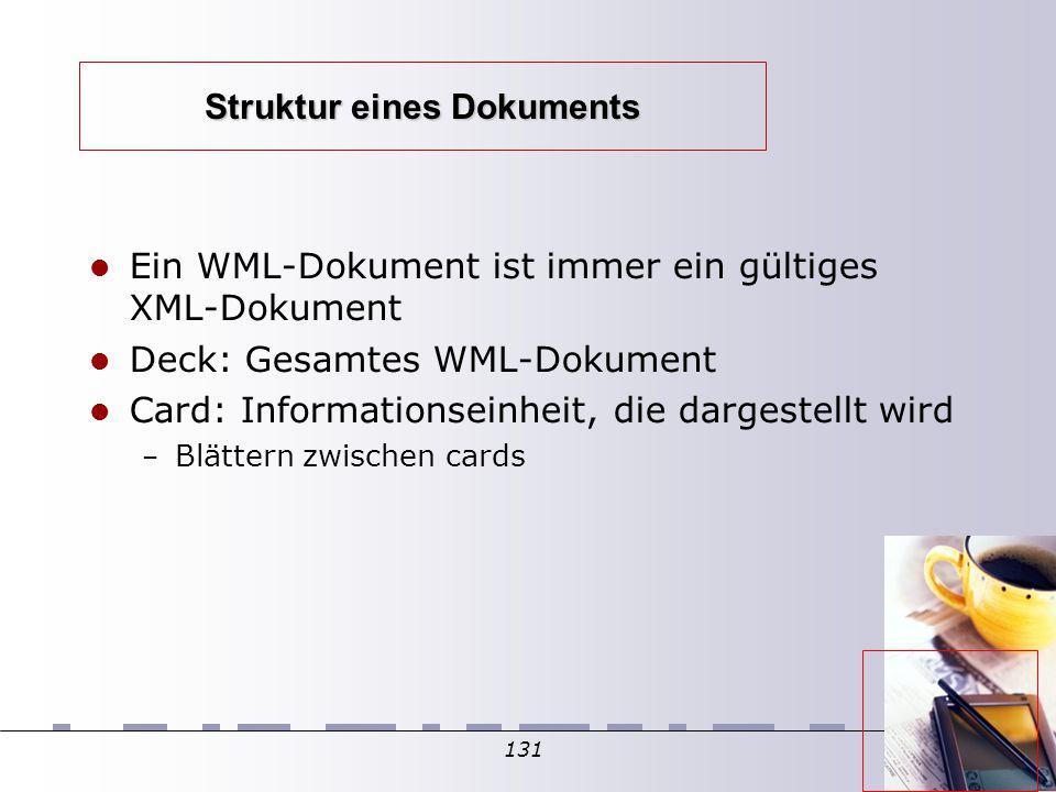 131 Struktur eines Dokuments Ein WML-Dokument ist immer ein gültiges XML-Dokument Deck: Gesamtes WML-Dokument Card: Informationseinheit, die dargestellt wird – Blättern zwischen cards