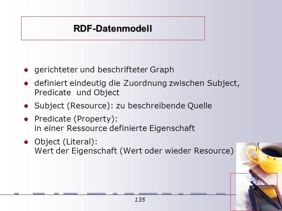 135 RDF-Datenmodell gerichteter und beschrifteter Graph definiert eindeutig die Zuordnung zwischen Subject, Predicate und Object Subject (Resource): zu beschreibende Quelle Predicate (Property): in einer Ressource definierte Eigenschaft Object (Literal): Wert der Eigenschaft (Wert oder wieder Resource) 
