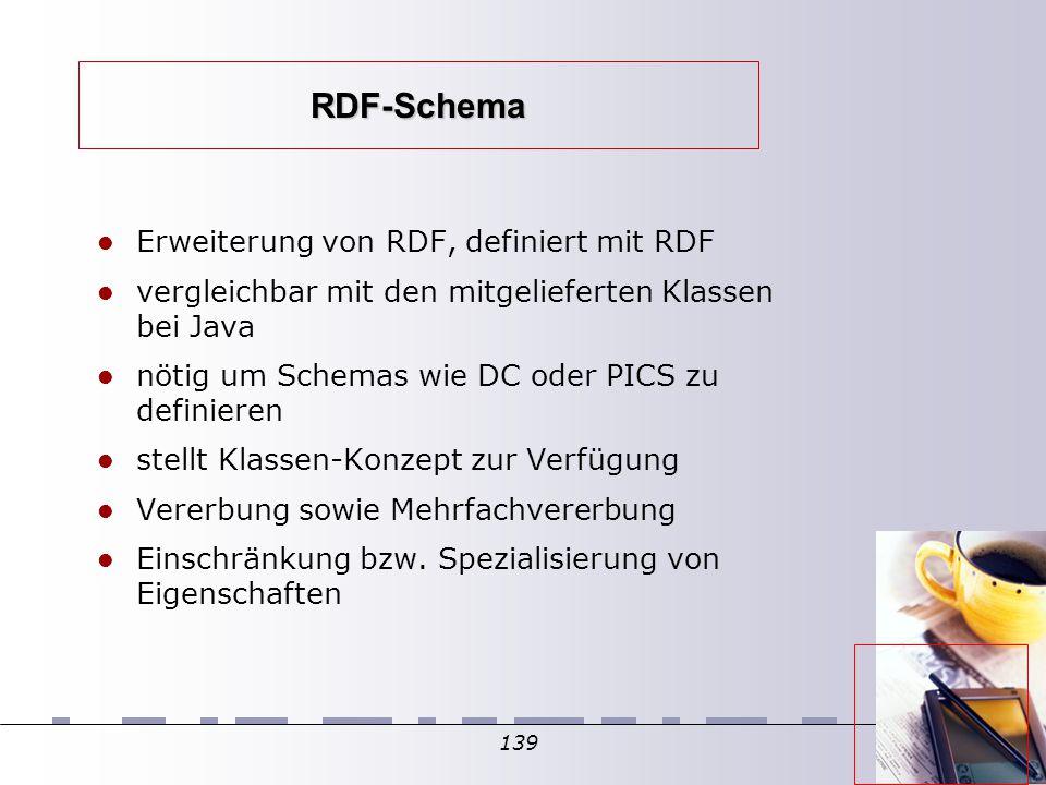 139 RDF-Schema Erweiterung von RDF, definiert mit RDF vergleichbar mit den mitgelieferten Klassen bei Java nötig um Schemas wie DC oder PICS zu definieren stellt Klassen-Konzept zur Verfügung Vererbung sowie Mehrfachvererbung Einschränkung bzw.