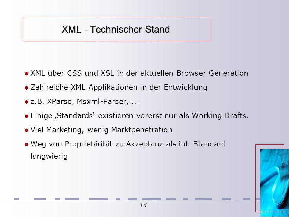 14 XML - Technischer Stand XML über CSS und XSL in der aktuellen Browser Generation Zahlreiche XML Applikationen in der Entwicklung z.B.