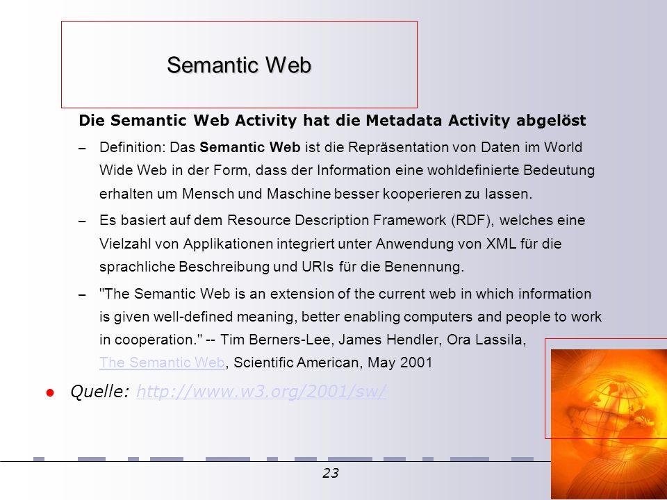23 Semantic Web Die Semantic Web Activity hat die Metadata Activity abgelöst – Definition: Das Semantic Web ist die Repräsentation von Daten im World Wide Web in der Form, dass der Information eine wohldefinierte Bedeutung erhalten um Mensch und Maschine besser kooperieren zu lassen.