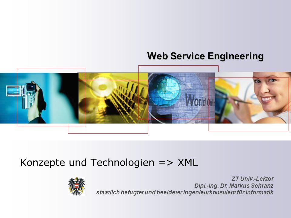 ZT Univ.-Lektor Dipl.-Ing. Dr. Markus Schranz staatlich befugter und beeideter Ingenieurkonsulent für Informatik Web Service Engineering Konzepte und