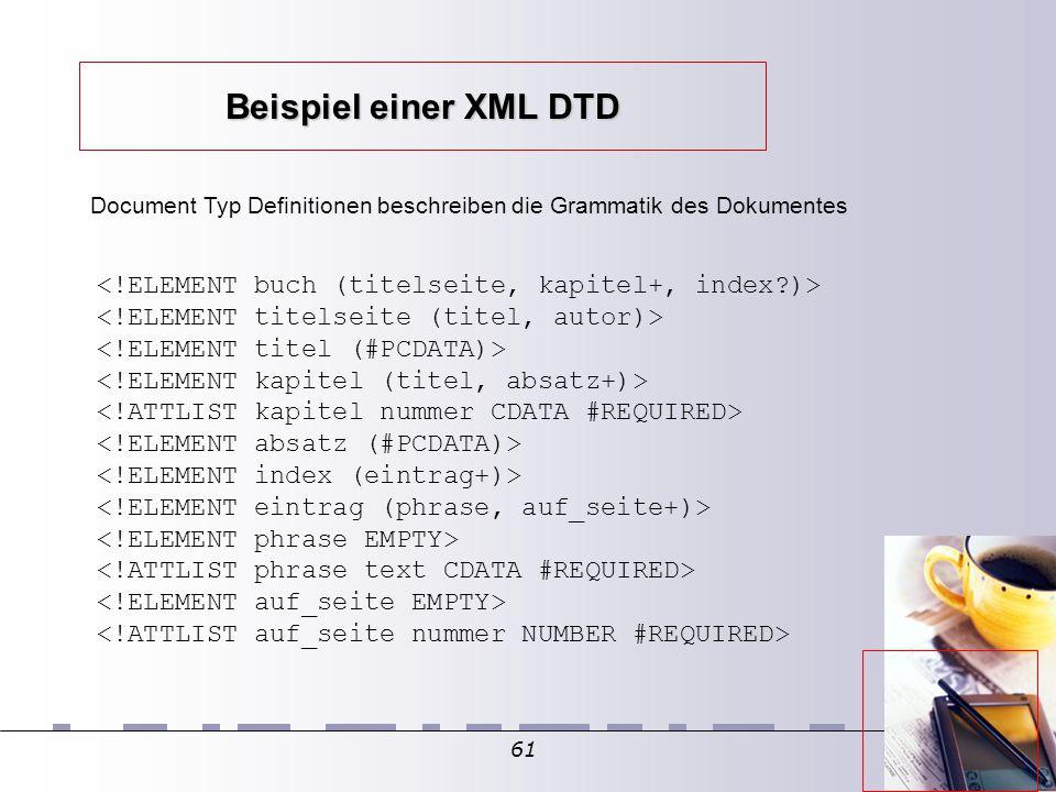 61 Document Typ Definitionen beschreiben die Grammatik des Dokumentes Beispiel einer XML DTD