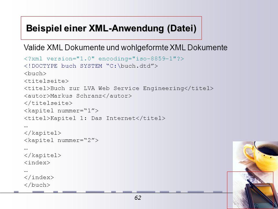 62 Valide XML Dokumente und wohlgeformte XML Dokumente Buch zur LVA Web Service Engineering Markus Schranz Kapitel 1: Das Internet … … … Beispiel einer XML-Anwendung (Datei)