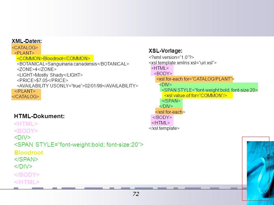 72 Bloodroot Sanguinaria canadensis 4 Mostly Shady $7.05 02/01/99 XML-Daten: XSL-Vorlage: HTML-Dokument: Bloodroot