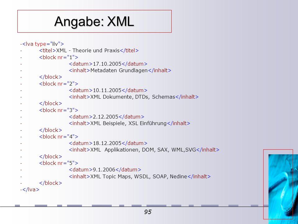 95 Angabe: XML - - XML - Theorie und Praxis - - 17.10.2005 - Metadaten Grundlagen - - 10.11.2005 - XML Dokumente, DTDs, Schemas - - 2.12.2005 - XML Beispiele, XSL Einführung - - 18.12.2005 - XML Applikationen, DOM, SAX, WML,SVG - - 9.1.2006 - XML Topic Maps, WSDL, SOAP, Nedine -