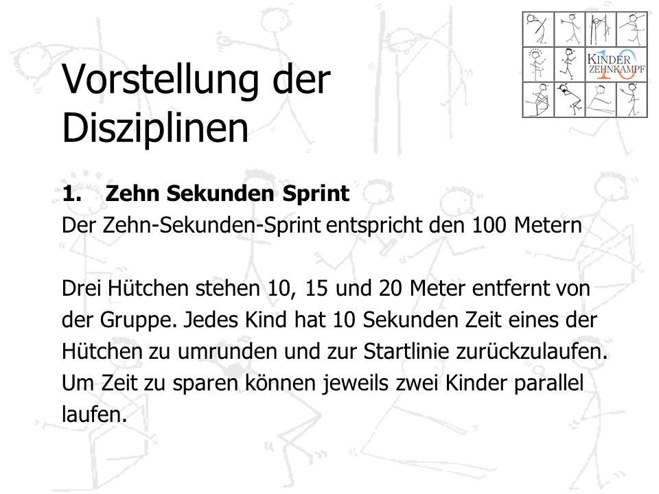 Vorstellung der Disziplinen 1.Zehn Sekunden Sprint Der Zehn-Sekunden-Sprint entspricht den 100 Metern Drei Hütchen stehen 10, 15 und 20 Meter entfernt von der Gruppe.