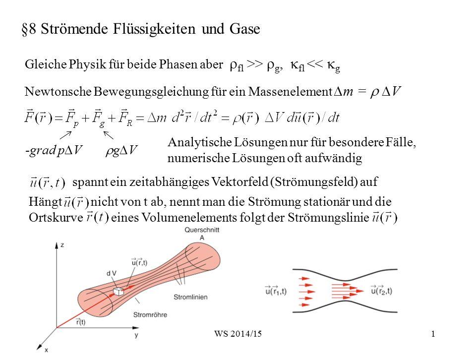 §8 Strömende Flüssigkeiten und Gase Newtonsche Bewegungsgleichung für ein Massenelement ∆m =  ∆V Gleiche Physik für beide Phasen aber  fl >>  g, 