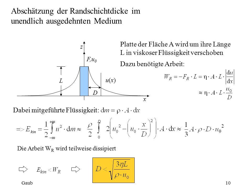 Abschätzung der Randschichtdicke im unendlich ausgedehnten Medium Die Arbeit W R wird teilweise dissipiert z x L F,u 0 D u(x)u(x) Platte der Fläche A