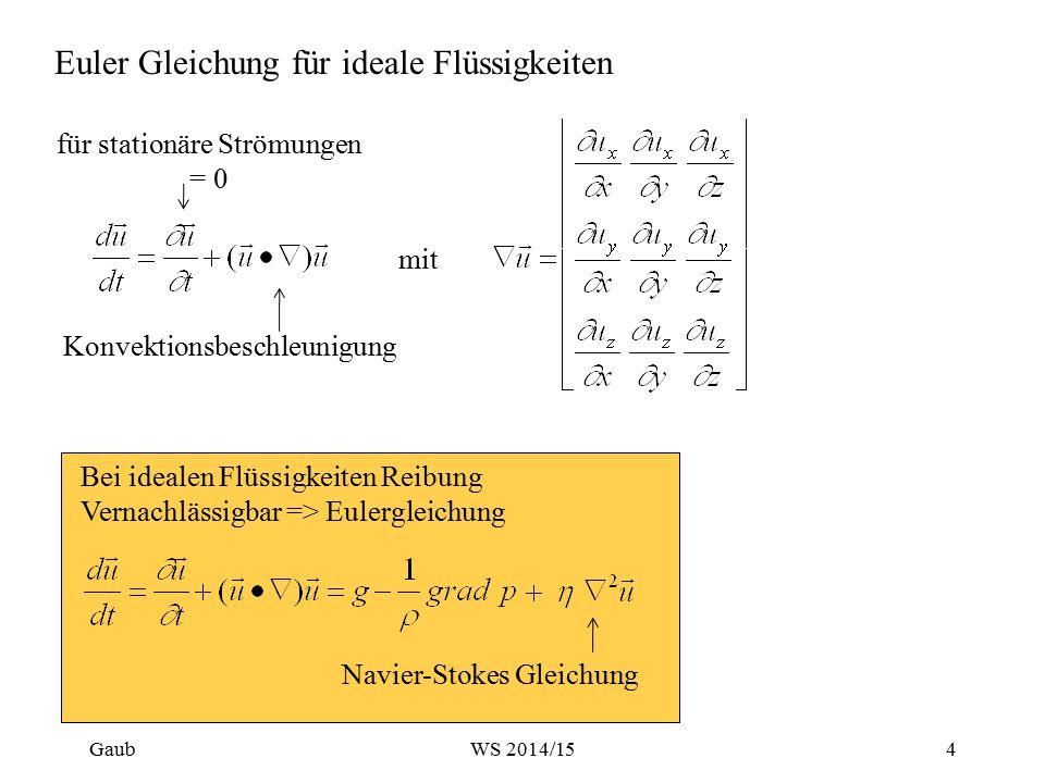 Euler Gleichung für ideale Flüssigkeiten Bei idealen Flüssigkeiten Reibung Vernachlässigbar => Eulergleichung Navier-Stokes Gleichung für stationäre S