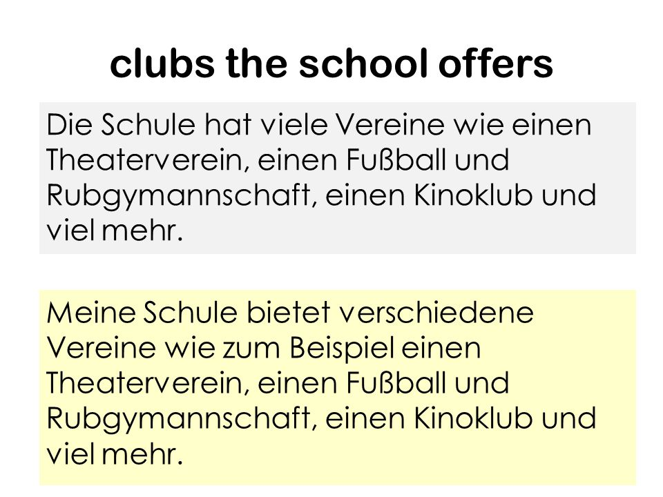 To introduce what clubs the school offers. in meiner Schule gibt es/haben wir..