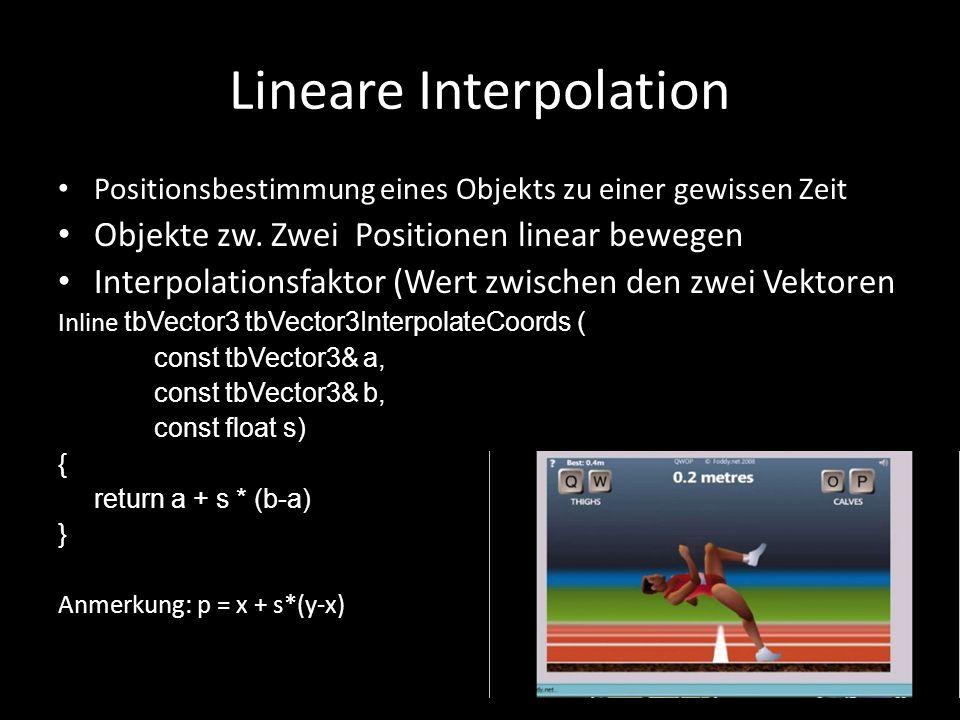 Lineare Interpolation Positionsbestimmung eines Objekts zu einer gewissen Zeit Objekte zw. Zwei Positionen linear bewegen Interpolationsfaktor (Wert z