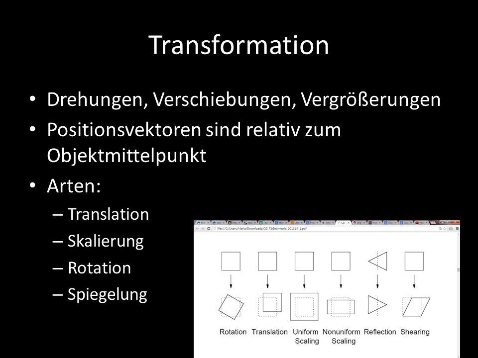 Transformation Drehungen, Verschiebungen, Vergrößerungen Positionsvektoren sind relativ zum Objektmittelpunkt Arten: – Translation – Skalierung – Rota