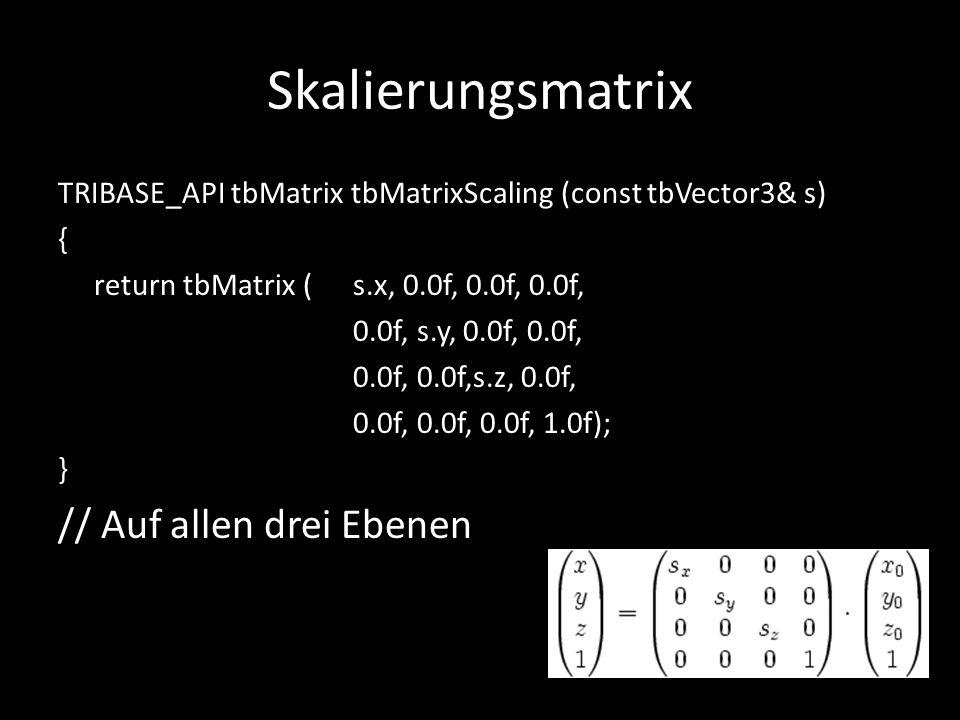 Skalierungsmatrix TRIBASE_API tbMatrix tbMatrixScaling (const tbVector3& s) { return tbMatrix ( s.x, 0.0f, 0.0f, 0.0f, 0.0f, s.y, 0.0f, 0.0f, 0.0f, 0.