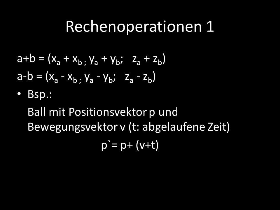 Rechenoperationen 1 a+b = (x a + x b ; y a + y b ; z a + z b ) a-b = (x a - x b ; y a - y b ; z a - z b ) Bsp.: Ball mit Positionsvektor p und Bewegun