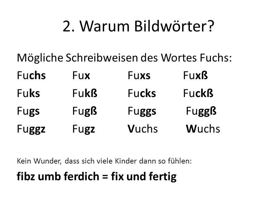 2. Warum Bildwörter? Mögliche Schreibweisen des Wortes Fuchs: FuchsFuxFuxs Fuxß FuksFukßFucksFuckß FugsFugßFuggs Fuggß FuggzFugzVuchs Wuchs Kein Wunde