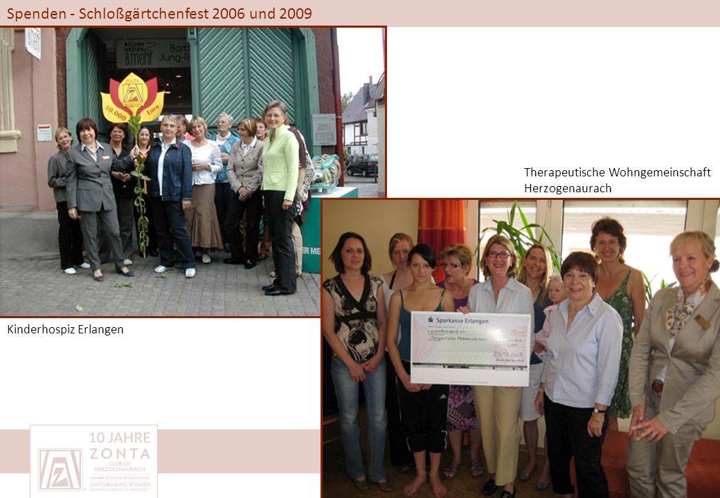 Spenden - Schloßgärtchenfest 2006 und 2009 Kinderhospiz Erlangen Therapeutische Wohngemeinschaft Herzogenaurach