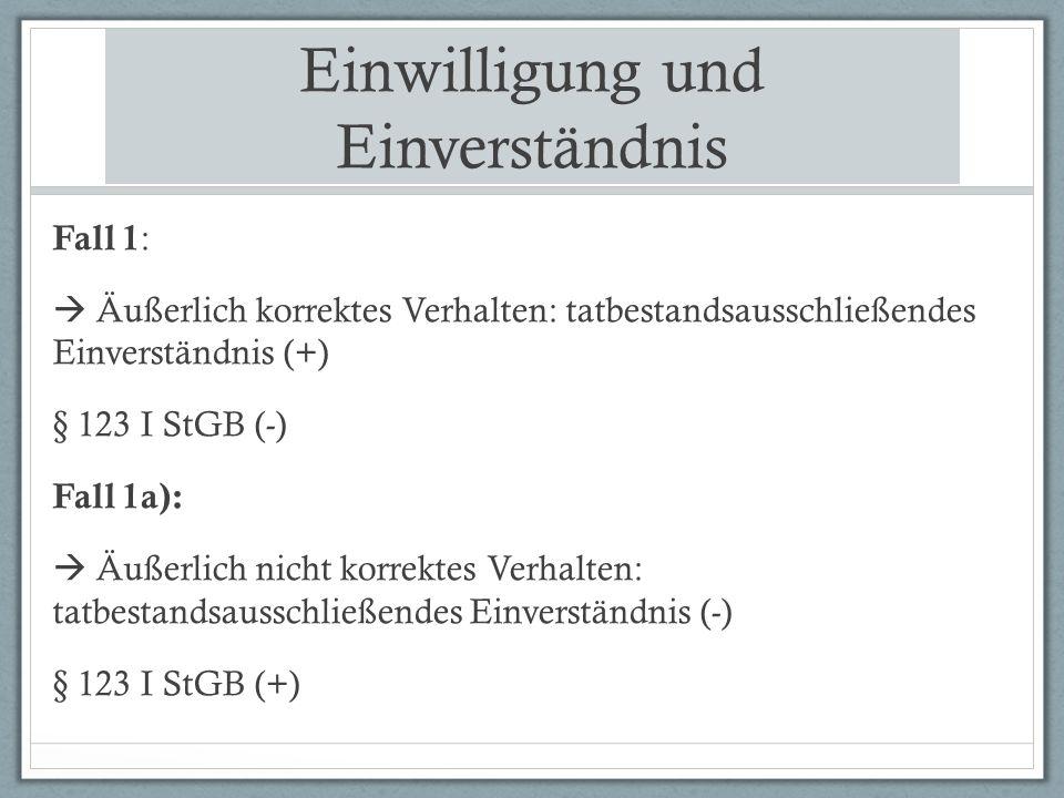 Einwilligung und Einverständnis Fall 1 :  Äußerlich korrektes Verhalten: tatbestandsausschließendes Einverständnis (+) § 123 I StGB (-) Fall 1a):  Äußerlich nicht korrektes Verhalten: tatbestandsausschließendes Einverständnis (-) § 123 I StGB (+)