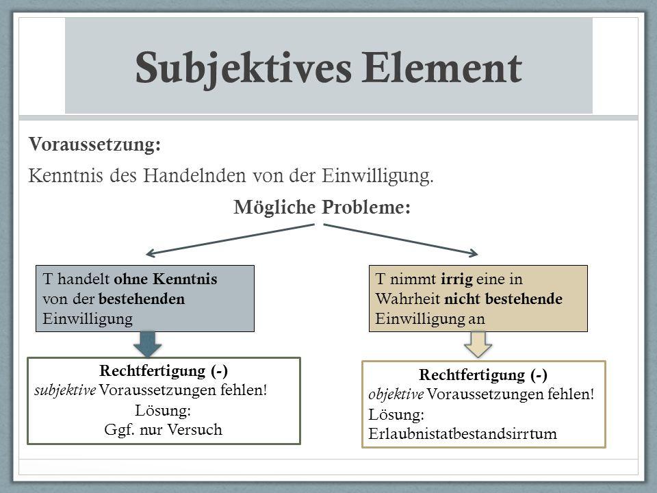 Subjektives Element Voraussetzung: Kenntnis des Handelnden von der Einwilligung. Mögliche Probleme: T handelt ohne Kenntnis von der bestehenden Einwil
