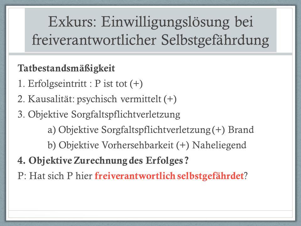 Exkurs: Einwilligungslösung bei freiverantwortlicher Selbstgefährdung Tatbestandsmäßigkeit 1.