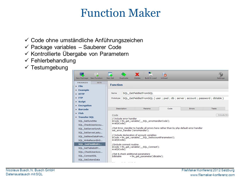 FileMaker Konferenz 2012 Salzburg www.filemaker-konferenz.com Nicolaus Busch, N.