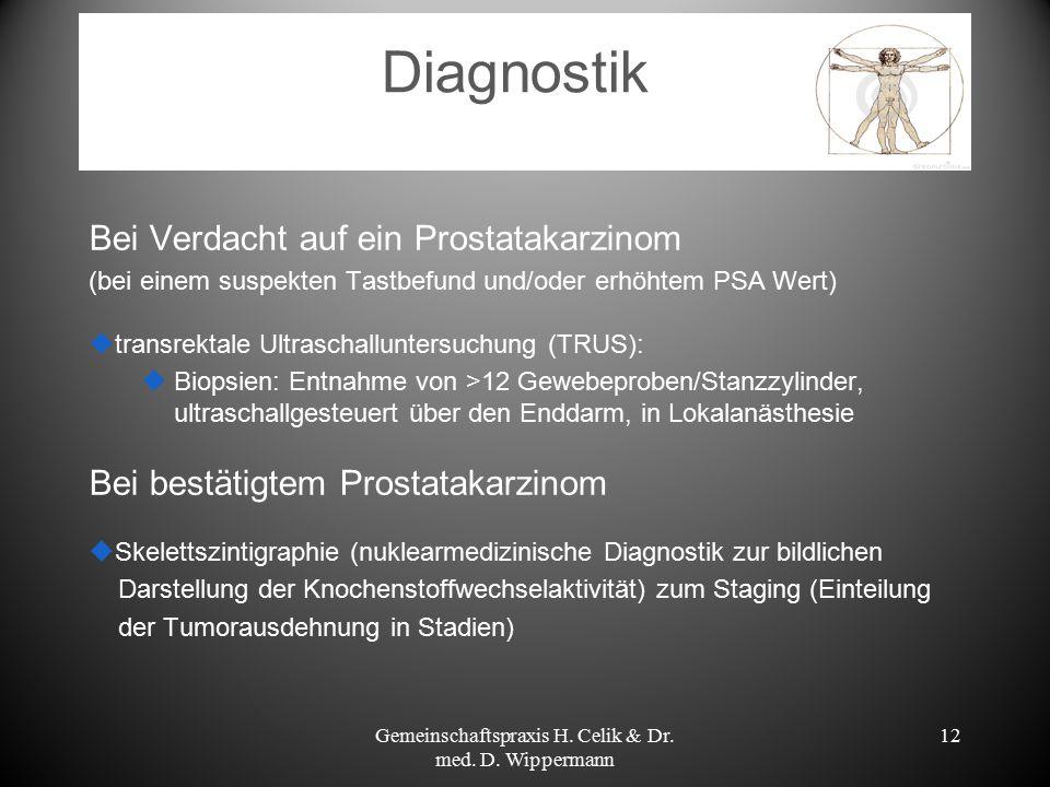 12 Diagnostik Bei Verdacht auf ein Prostatakarzinom (bei einem suspekten Tastbefund und/oder erhöhtem PSA Wert)  transrektale Ultraschalluntersuchung