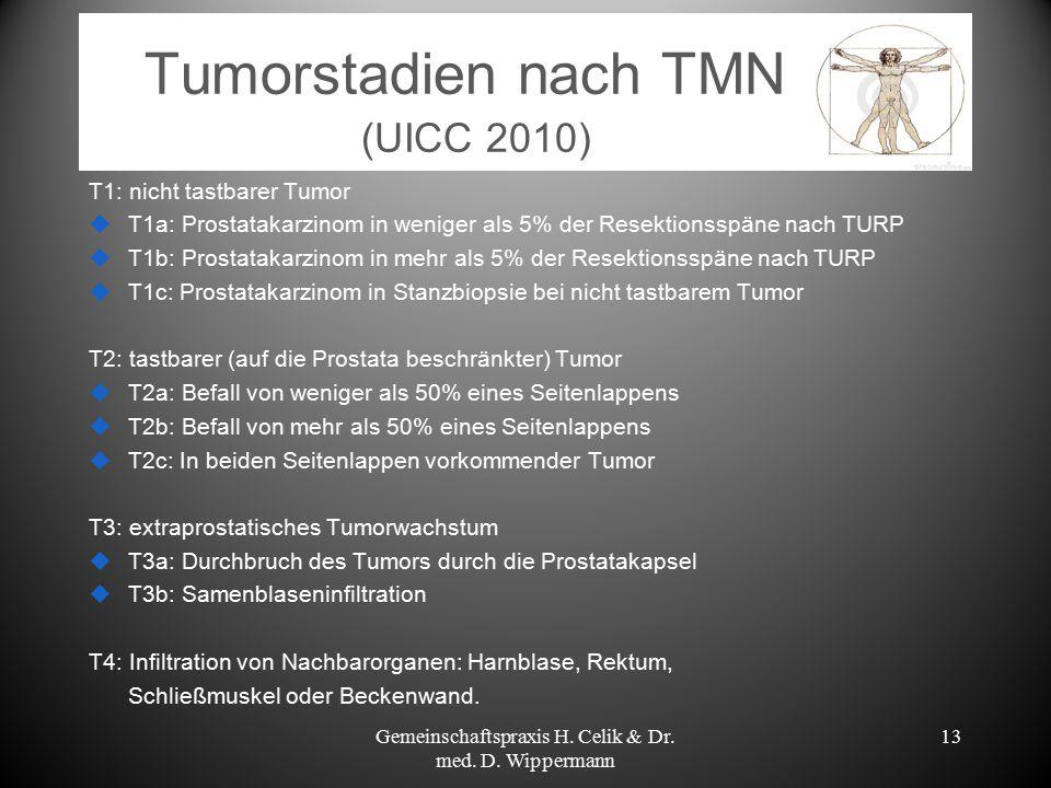 Tumorstadien nach TMN (UICC 2010) T1: nicht tastbarer Tumor  T1a: Prostatakarzinom in weniger als 5% der Resektionsspäne nach TURP  T1b: Prostatakar