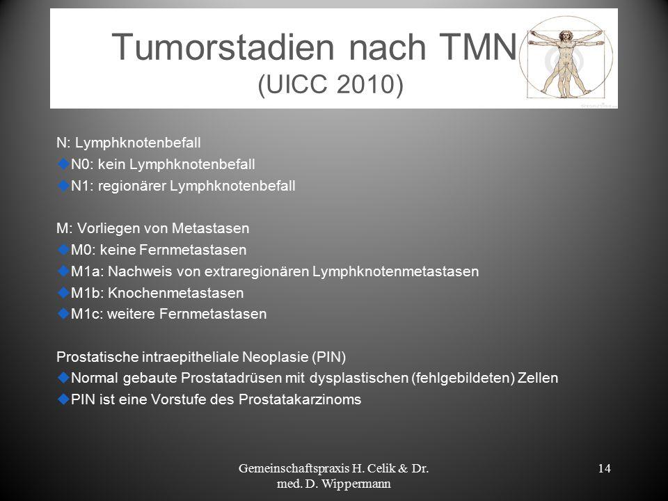 Tumorstadien nach TMN (UICC 2010) N: Lymphknotenbefall  N0: kein Lymphknotenbefall  N1: regionärer Lymphknotenbefall M: Vorliegen von Metastasen  M