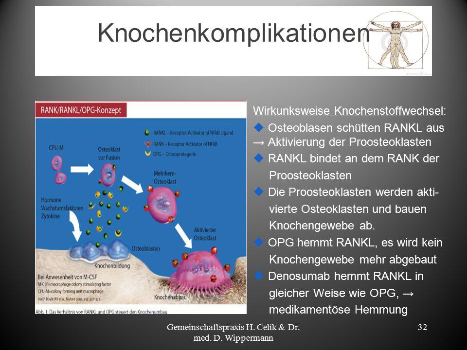 Knochenkomplikationen Gemeinschaftspraxis H. Celik & Dr. med. D. Wippermann 32 Wirkunksweise Knochenstoffwechsel:  Osteoblasen schütten RANKL aus → A