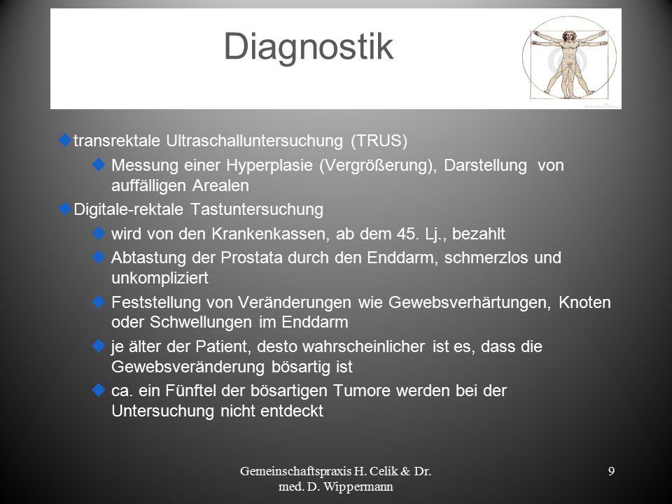9 Diagnostik  transrektale Ultraschalluntersuchung (TRUS)  Messung einer Hyperplasie (Vergrößerung), Darstellung von auffälligen Arealen  Digitale-