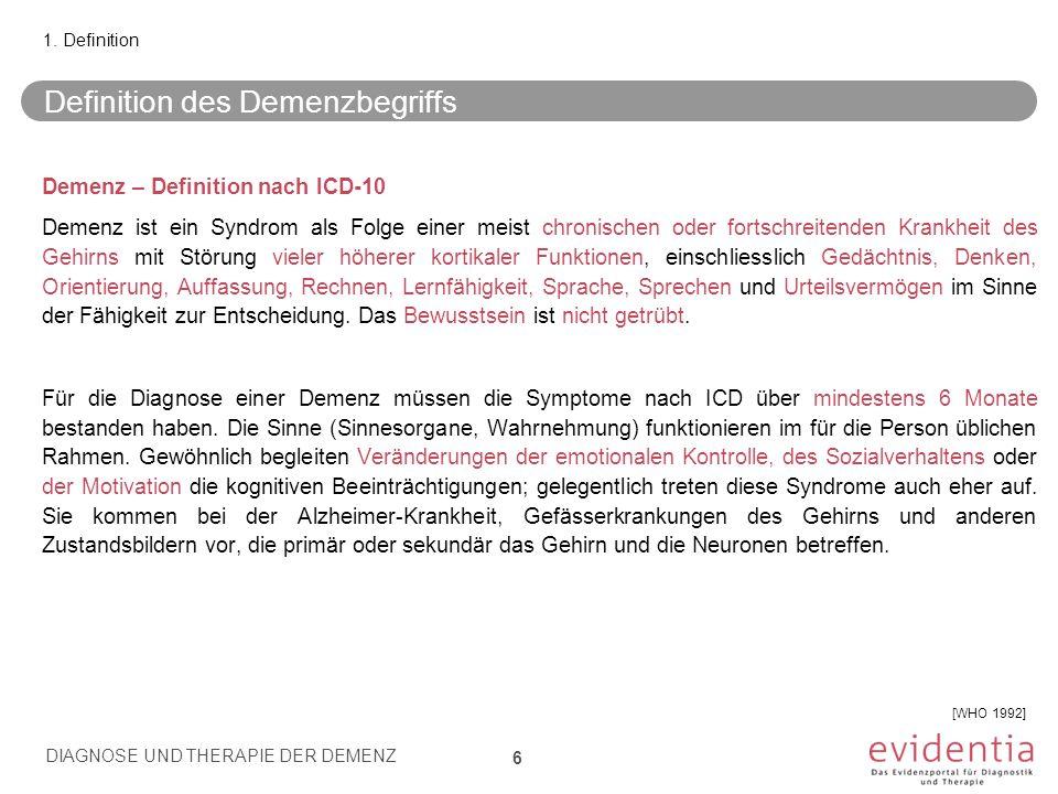 Demenz bei Alzheimer-Krankheit – klinische Diagnosekriterien DIAGNOSE UND THERAPIE DER DEMENZ 17 3.