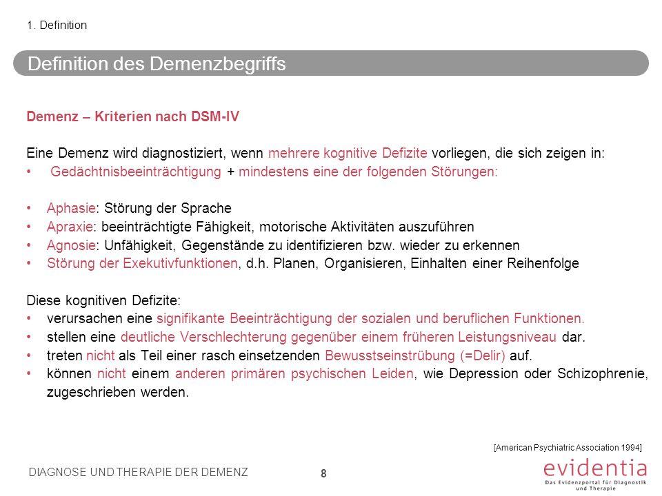 Prodromale Alzheimer-Krankheit/ Konstrukt des Mild Cognitive Impairment MCI – ursprüngliche Diagnosekriterien nach Petersen (1999) Beeinträchtigte Gedächtnisleistungen Subjektive Klagen über diese Beeinträchtigungen Unbeeinträchtigte Alltagsaktivitäten und allgemeine kognitive Leistungen Keine Demenz 19 3.