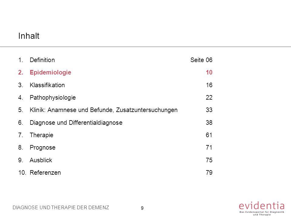 Prävalenz und Inzidenz der Demenz Altersabhängige Prävalenz und Inzidenz der Demenz in verschiedenen publizierten Studien 10 2.