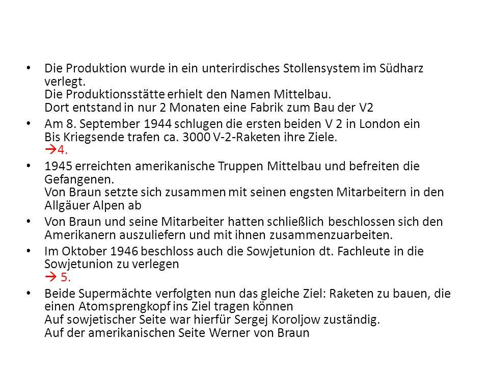 Die Produktion wurde in ein unterirdisches Stollensystem im Südharz verlegt. Die Produktionsstätte erhielt den Namen Mittelbau. Dort entstand in nur 2