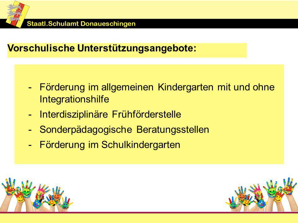 Vorschulische Unterstützungsangebote: -Förderung im allgemeinen Kindergarten mit und ohne Integrationshilfe -Interdisziplinäre Frühförderstelle -Sonderpädagogische Beratungsstellen -Förderung im Schulkindergarten