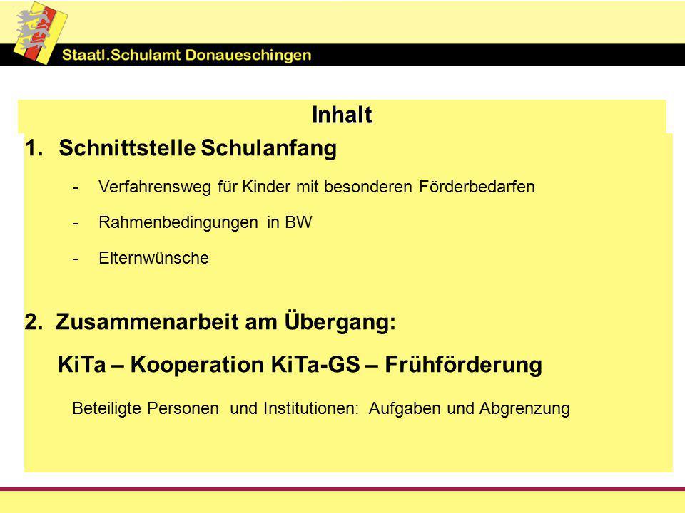 Inhalt 1.Schnittstelle Schulanfang -Verfahrensweg für Kinder mit besonderen Förderbedarfen -Rahmenbedingungen in BW -Elternwünsche 2.