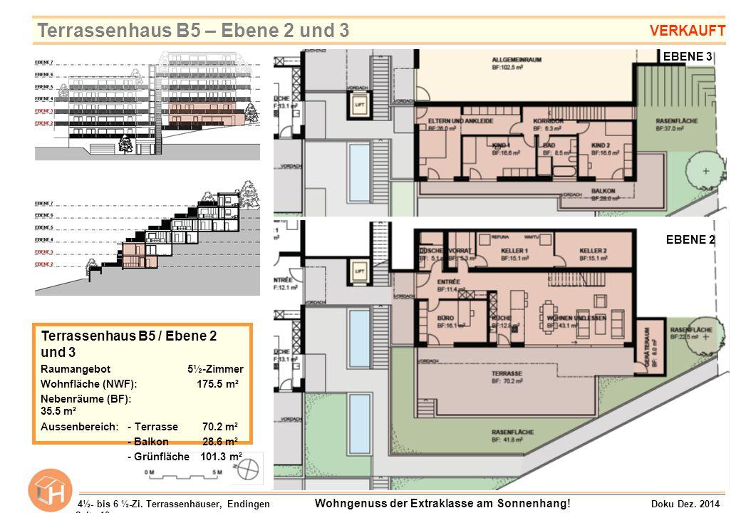 EBENE 3 EBENE 2 Terrassenhaus B5 / Ebene 2 und 3 Raumangebot 5½-Zimmer Wohnfläche (NWF): 175.5 m² Nebenräume (BF): 35.5 m² Aussenbereich:- Terrasse 70