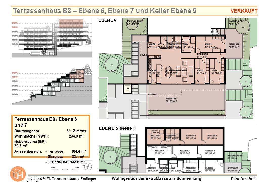 EBENE 5 (Keller) Terrassenhaus B8 / Ebene 6 und 7 Raumangebot 6½-Zimmer Wohnfläche (NWF): 234.0 m² Nebenräume (BF): 39.7 m² Aussenbereich:- Terrasse 1