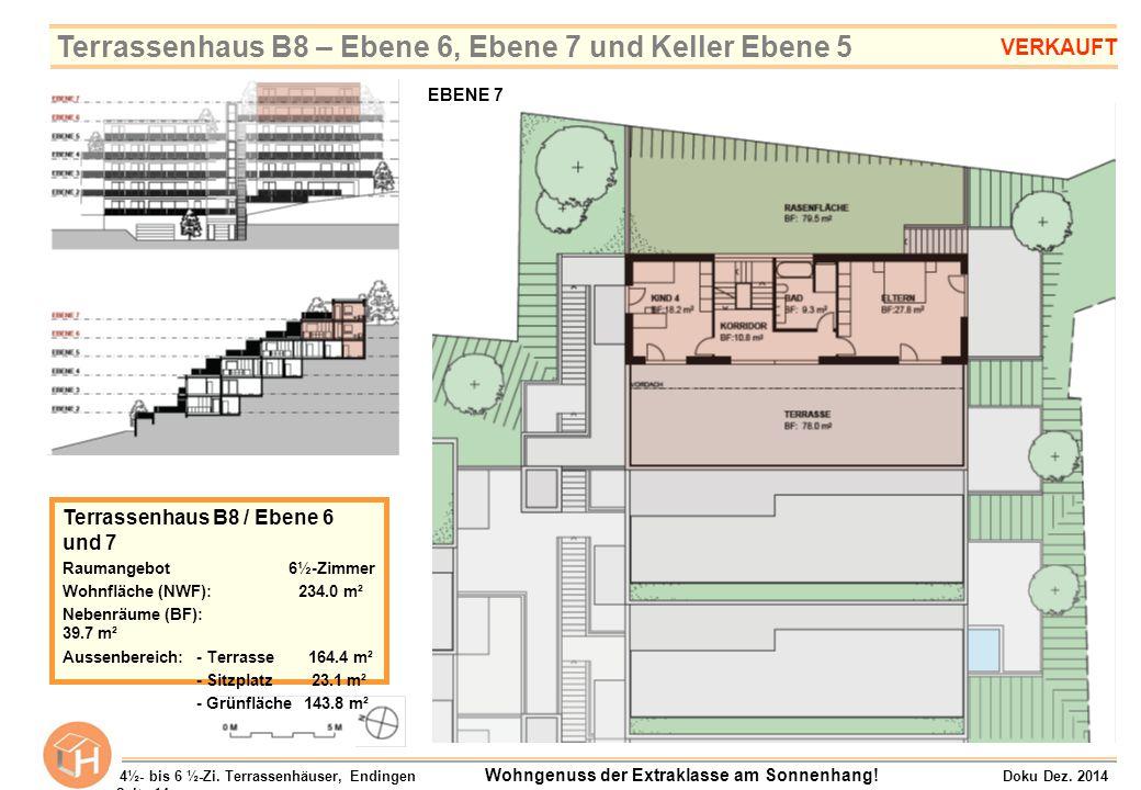 Terrassenhaus B8 / Ebene 6 und 7 Raumangebot 6½-Zimmer Wohnfläche (NWF): 234.0 m² Nebenräume (BF): 39.7 m² Aussenbereich:- Terrasse 164.4 m² - Sitzpla